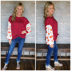 Red sweetheart blouse