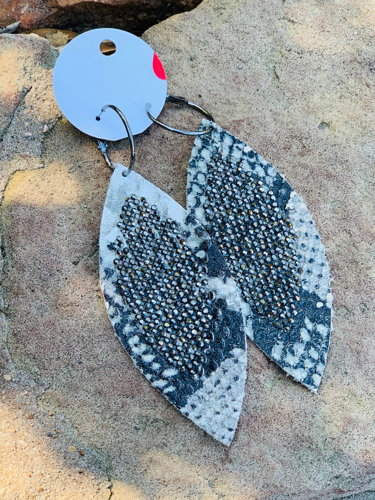 Grey & Black Snake rhinestone feather earrings