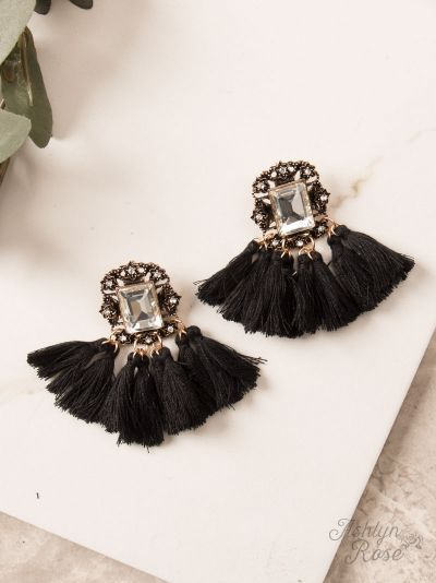 Black Vintage Fringe Earrings