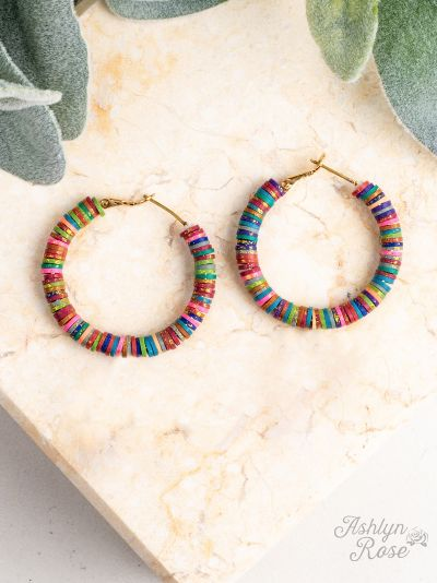 All Summer Long Rainbow Beaded Hoop Earings