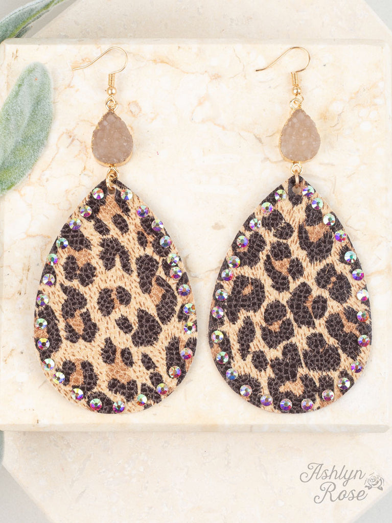 Leopard Druzy Teardrop Earrings
