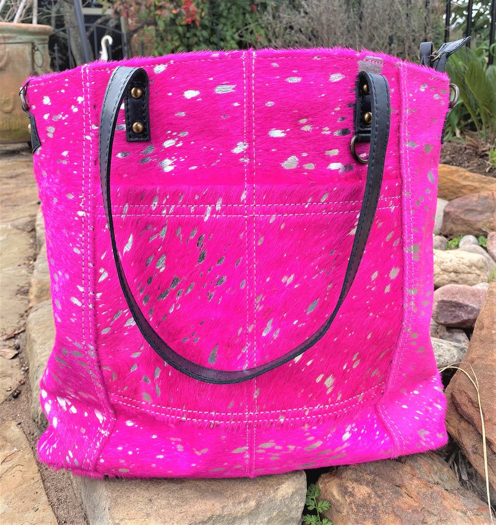 Western Barbie Hot pink & Silver acid wash Tote (Brown Leather)