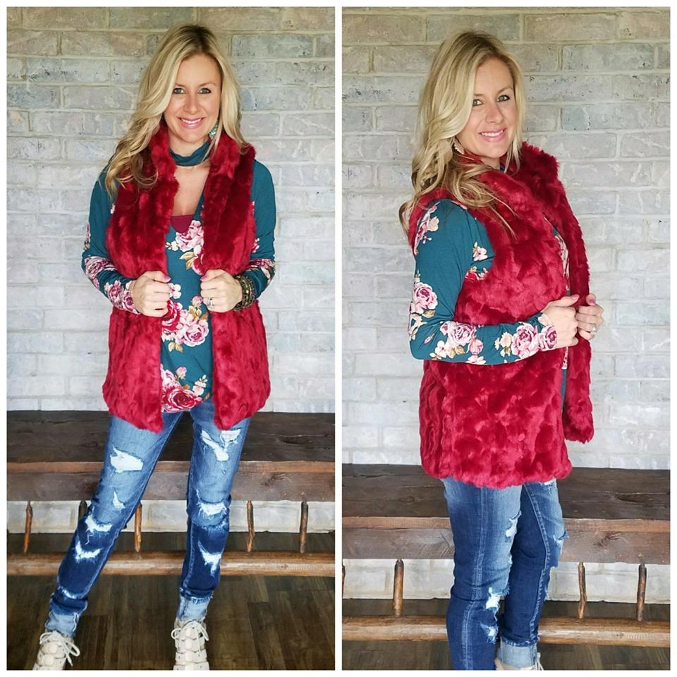 Burgundy faux fur vest
