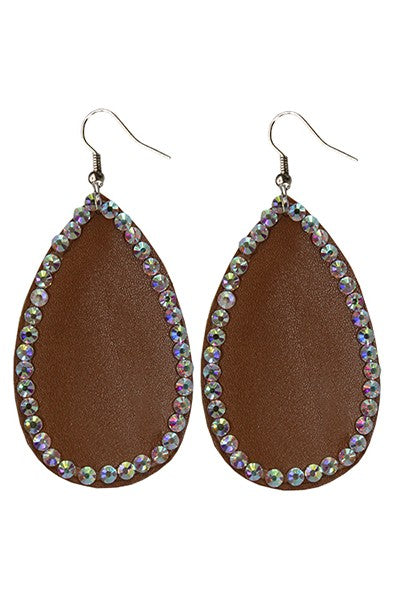 Brown AB leather tear drop earring
