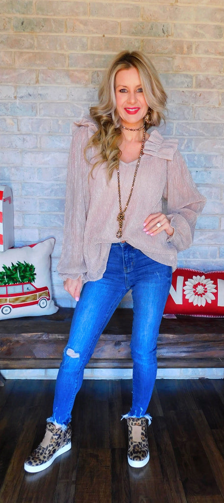"Light Mauve ""Chic in sheer"" Sparkle Longsleeve Blouse"