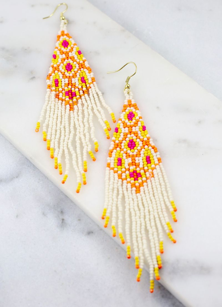 Leopard Neon Coral Pink Beaded Tassel Earrings