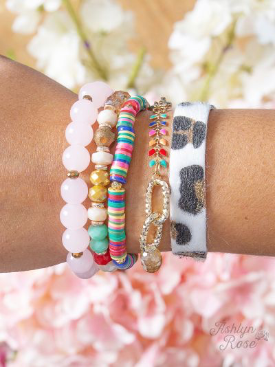 Yours Truly Bracelet Set - Leopard Multi Mix