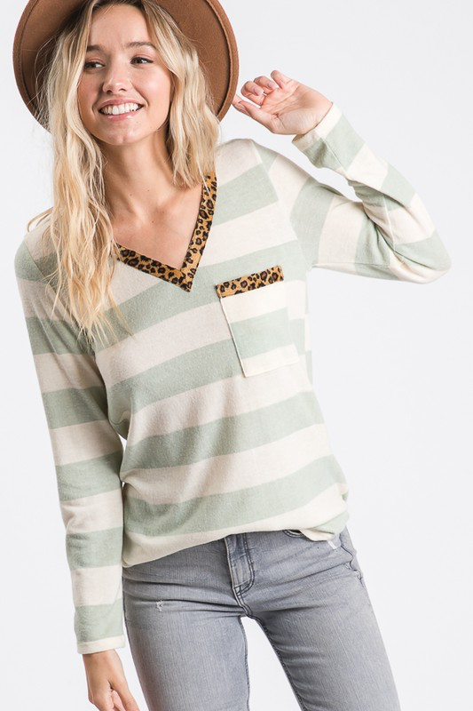 Long Live Leopard & Stripes sage long sleeve