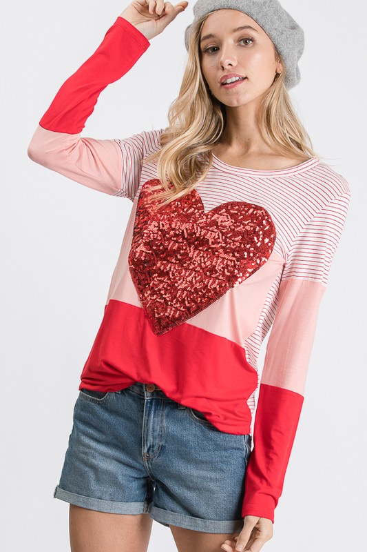 My Beating Heart Blush & Red Top