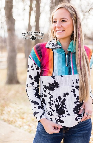Cowhide & Serape Prescott Pullever by Crazy Train