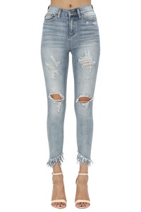 Light Denim Fringed Jeans