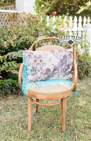 Brindle Cowhide print fringe pillow by Crazy Train