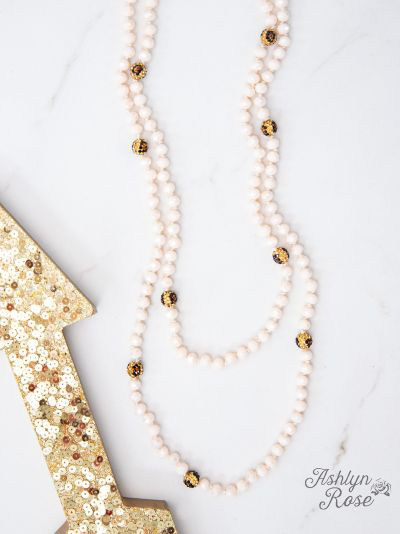 Leopard Cream Curious Crystal Double Wrap Beaded Necklace