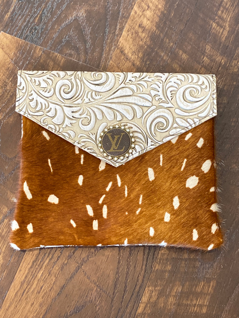 Axis Hide Ivory Tooled Leather Upcycled Embellished Purse