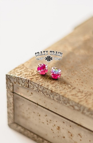 Magenta Glam Girl Stud Earrings