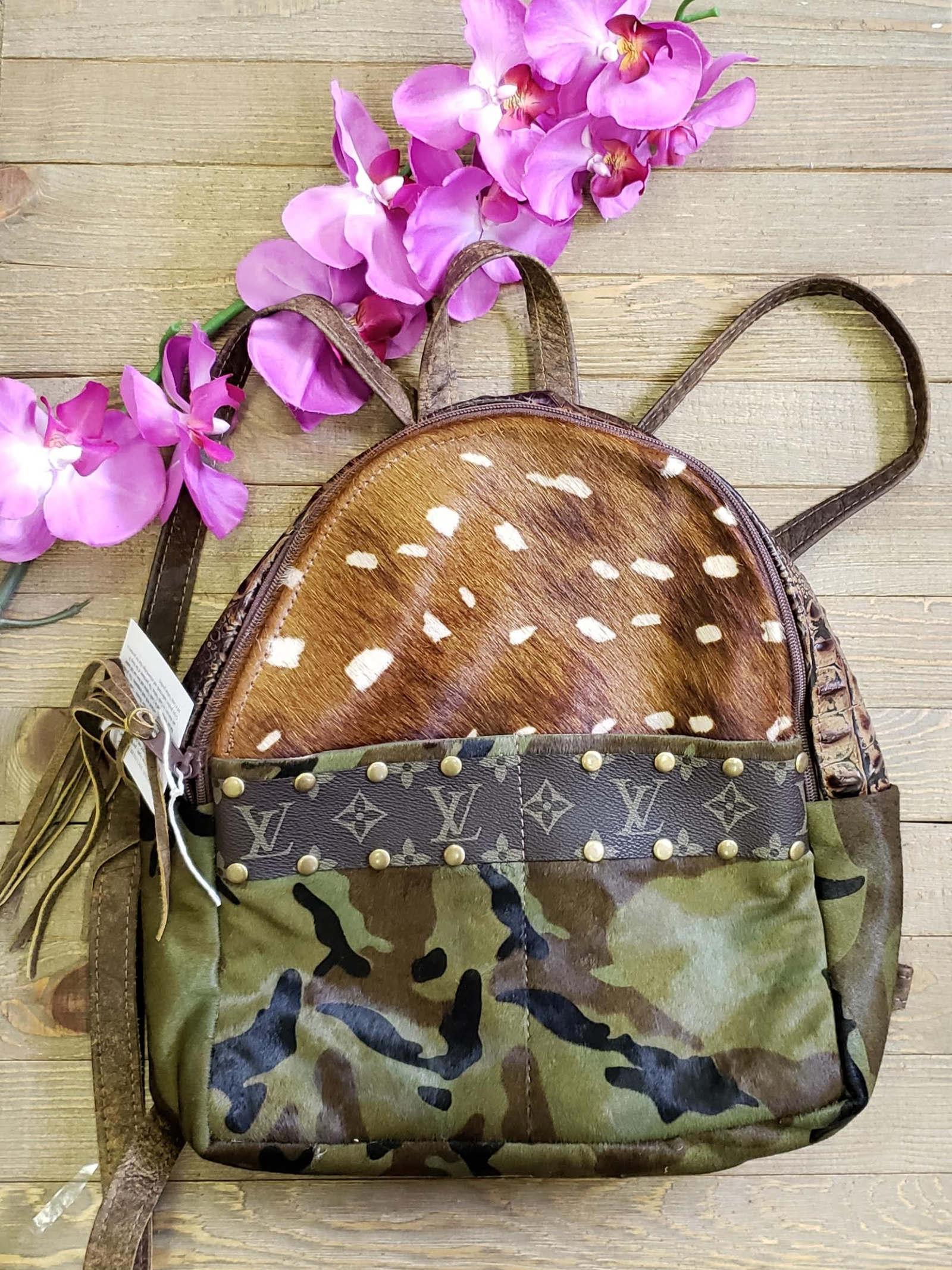Camo & Axis print hair on hide Catherine mini back pack