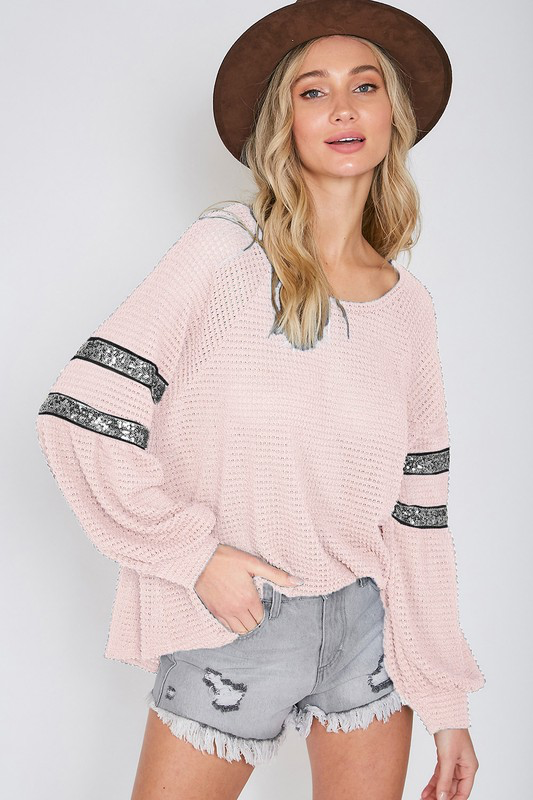 Blush Springing into chic comfy waffle knit blouse