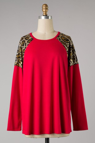 Wild in Red Leopard sequin sleeve blouse