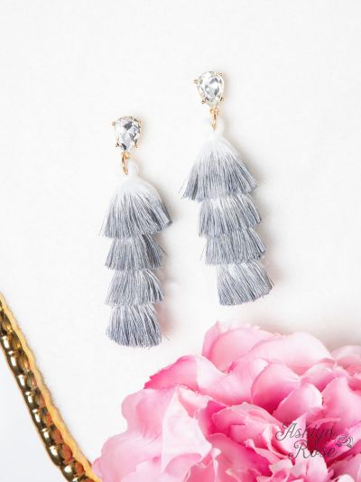 Elegantly Simple Tassel Earrings - Grey