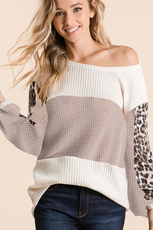 Mocha Nights Color block Leopard Waffle Blouse