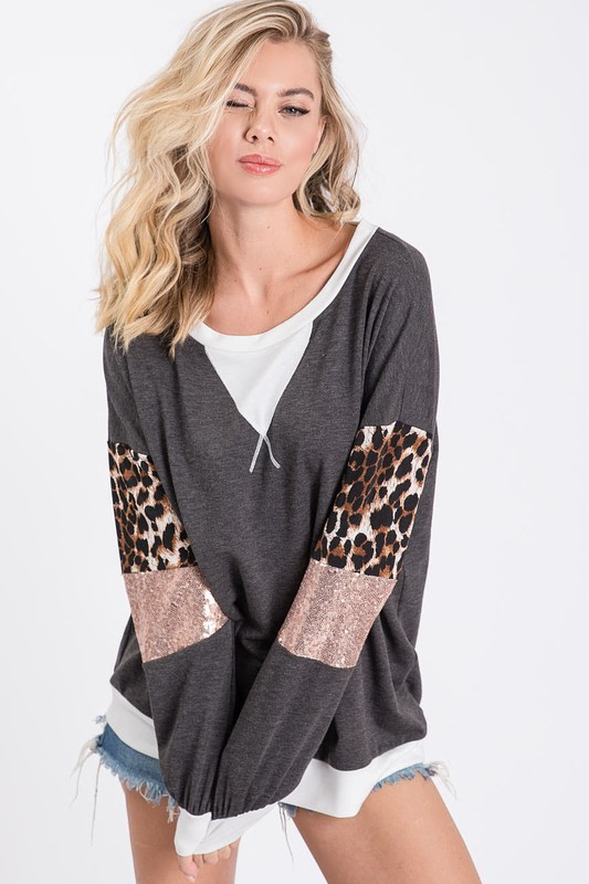 Come on over & snuggle Charcoal Leopard sequin sleeve blouse