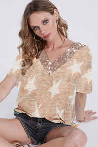 Taupe Star Sequin V Neck Top