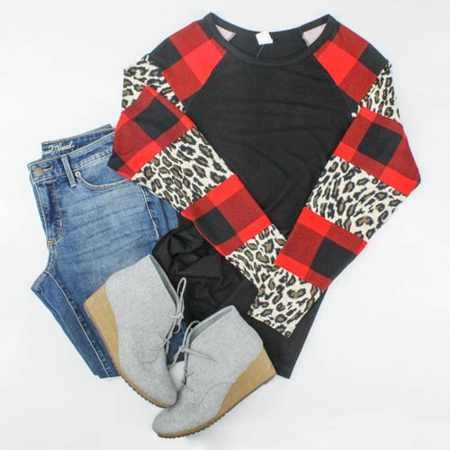Plaid and Leopard Long Sleeve Top