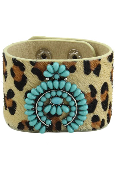 Leopard cuff with turquoise stone squash