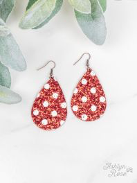 Red & White Glitter Polka Dot Earrings
