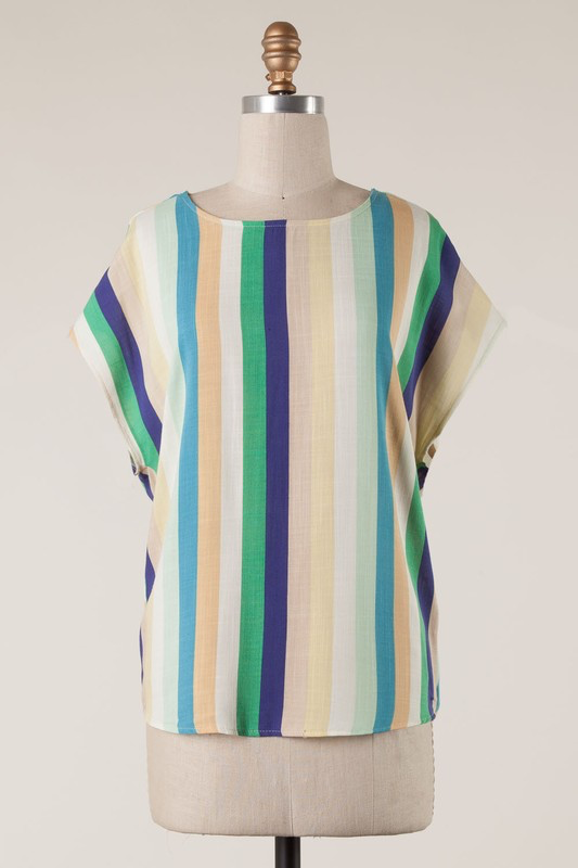Blue & Green Stripe Twist Back Top