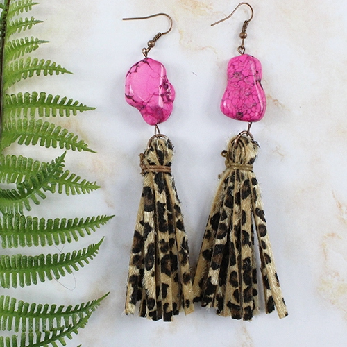 Leopard & Pink Slab Tassel Earrings