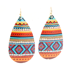 Orange Serape Aztec Crystal Earrings