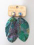 AB Crystal Blue Green Metallic Snake Leather Feather earring by Pink Panache
