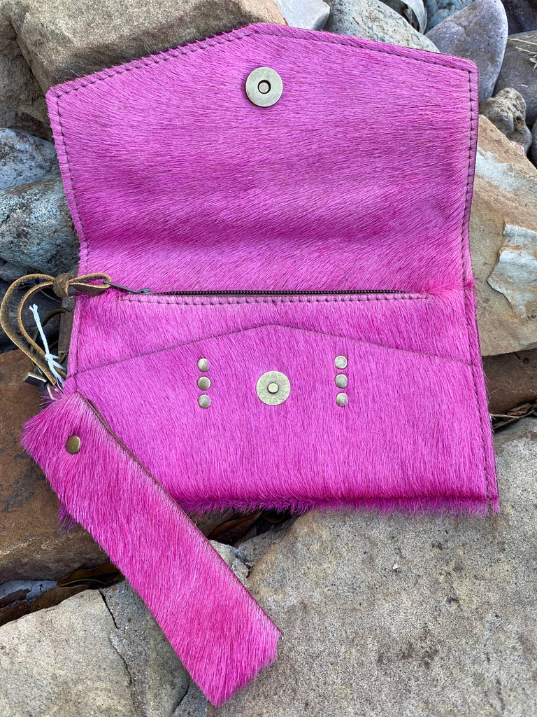 Pink Hair on Hide LV Jordan Wristlet
