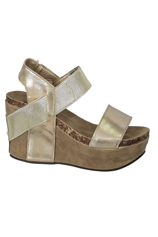 Southern Walk Gold Cork Wedges