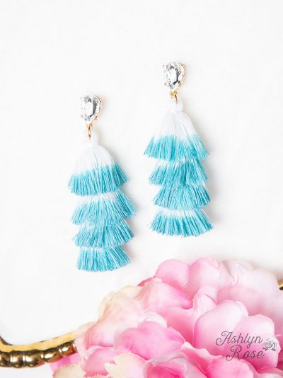 Elegantly Simple Tassel Earrings - Aqua