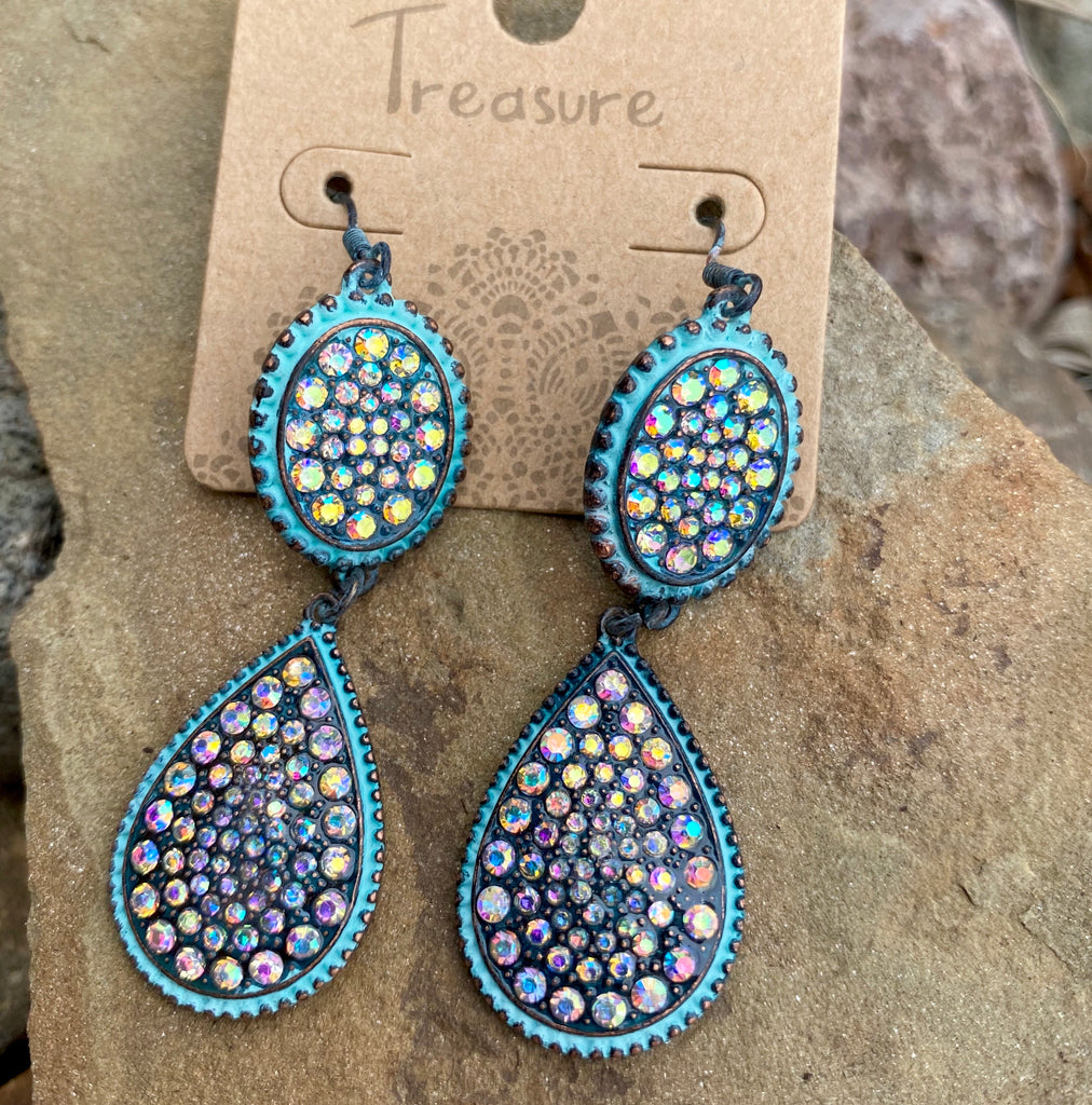 Antique Turquoise Rhinestone Double Oval Earrings