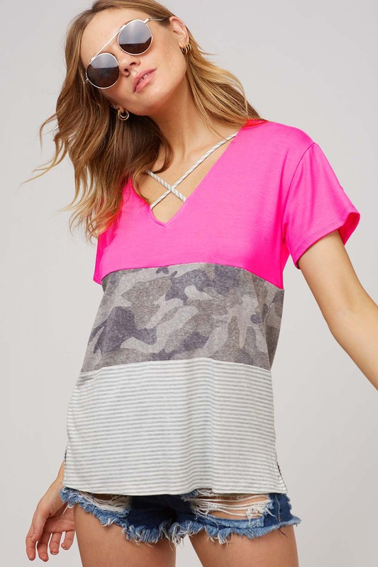 Pink Camo Stripe Colorblock Criss Cross Top