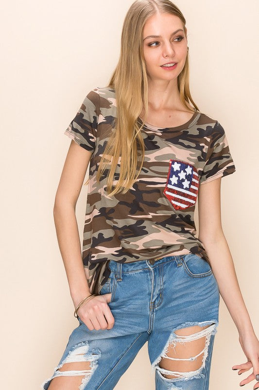 Olive Camo USA Sequin Pocket Top