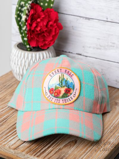 Every Rose Has Its Thorn Turquoise & Peach Plaid Hat