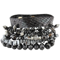 Black Metallic Beaded bracelet stack