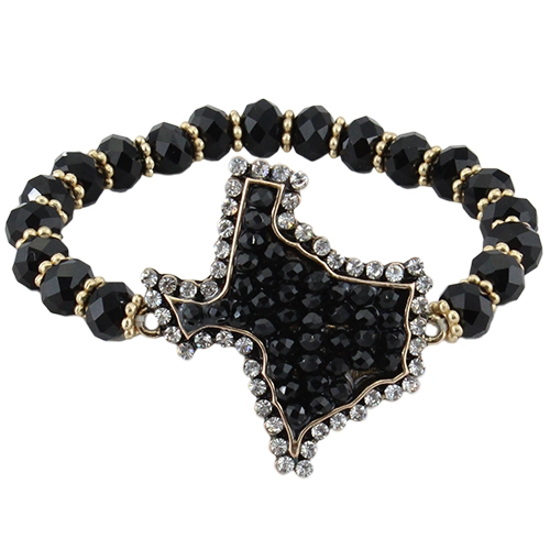 Texas Gal Black Glitter & AB Stretch Bracelet Stackable