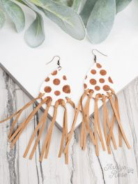 Brown Polka Dot Fringe Earrings