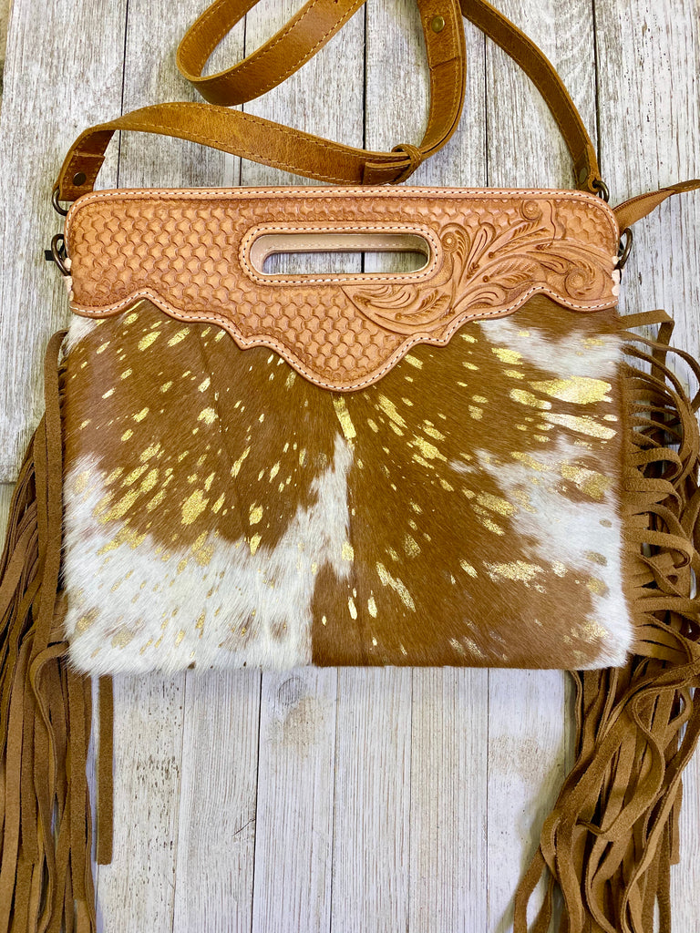 Cowhide & Gold Acid Wash with Fringe Clutch/Crossbody