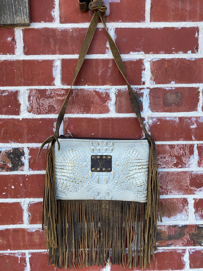 Ivory Croc & Gold Shimmer Brown Leather Fringe Maxine Purse