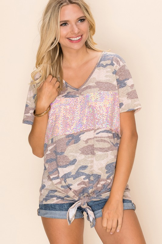 Taupe Camo Disco Days Top