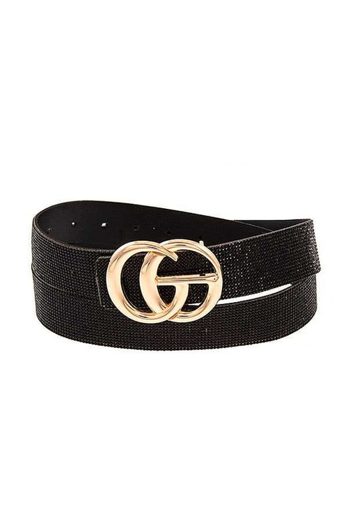 Black Rhinestone Pave Inspired Belt