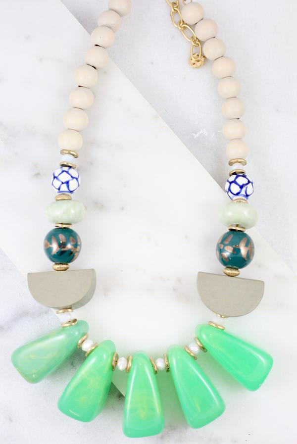 Green & Mint Barrow Mixed Stone Necklace