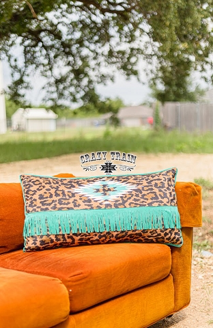 Wild Tribal Leopard print fringe pillow by Crazy Train