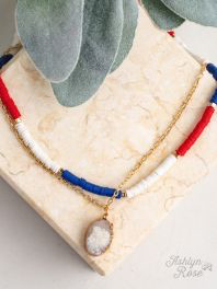 All Summer Long Beaded Patriotic Necklace